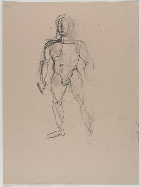 Jeremy Deller (British, born 1966). <em>Untitled (Standing Pose) from Iggy Pop Life Class by Jeremy Deller</em>, 2016. Natural charcoal on beige paper, 23 3/4 x 18 in. (60.3 x 45.7 cm). Brooklyn Museum, Brooklyn Museum Collection, 2016.3.13a. © artist or artist's estate (Photo: Brooklyn Museum, 2016.3.13a_PS9.jpg)