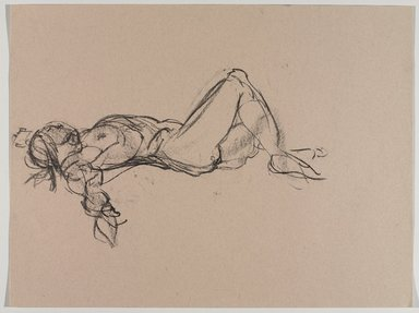 Jeremy Deller (British, born 1966). <em>Untitled (Lying Pose) from Iggy Pop Life Class by Jeremy Deller</em>, 2016. Natural charcoal on beige paper, 18 x 23 3/4 in. (45.7 x 60.3 cm). Brooklyn Museum, Brooklyn Museum Collection, 2016.3.13b. © artist or artist's estate (Photo: Brooklyn Museum, 2016.3.13b_PS9.jpg)