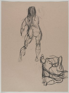 Jeremy Deller (British, born 1966). <em>Untitled (Two Poses: Standing and Sitting) from Iggy Pop Life Class by Jeremy Deller</em>, 2016. Natural charcoal on beige paper, 23 7/8 x 18 in. (60.6 x 45.7 cm). Brooklyn Museum, Brooklyn Museum Collection, 2016.3.13c. © artist or artist's estate (Photo: Brooklyn Museum, 2016.3.13c_PS9.jpg)