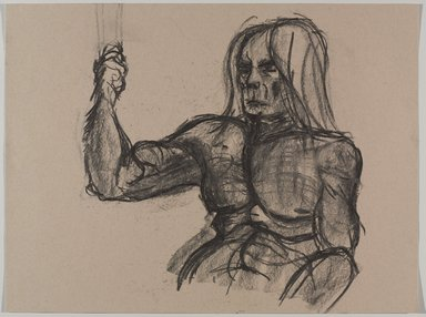Jeremy Deller (British, born 1966). <em>Untitled (Seated Pose) from Iggy Pop Life Class by Jeremy Deller</em>, 2016. Natural charcoal on beige paper, 18 x 23 3/4 in. (45.7 x 60.3 cm). Brooklyn Museum, Brooklyn Museum Collection, 2016.3.13e. © artist or artist's estate (Photo: Brooklyn Museum, 2016.3.13e_PS9.jpg)