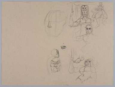 Jeremy Deller (British, born 1966). <em>Untitled (Caricatures) from Iggy Pop Life Class by Jeremy Deller</em>, 2016. Graphite pencil with natural charcoal on beige paper, 18 x 23 3/4 in. (45.7 x 60.3 cm). Brooklyn Museum, Brooklyn Museum Collection, 2016.3.13f. © artist or artist's estate (Photo: Brooklyn Museum, 2016.3.13f_PS9.jpg)