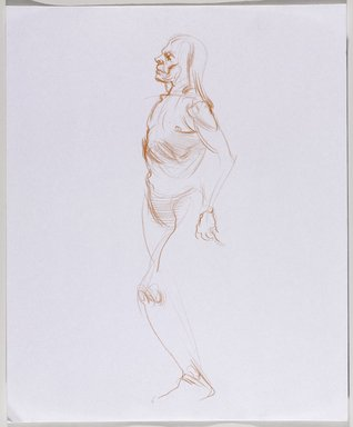 Jeremy Deller (British, born 1966). <em>Untitled (Standing Pose) from Iggy Pop Life Class by Jeremy Deller</em>, 2016. Orange colored pencil on paper, 17 x 14 in. (43.2 x 35.6 cm). Brooklyn Museum, Brooklyn Museum Collection, 2016.3.14a. © artist or artist's estate (Photo: Brooklyn Museum, 2016.3.14a_PS9.jpg)