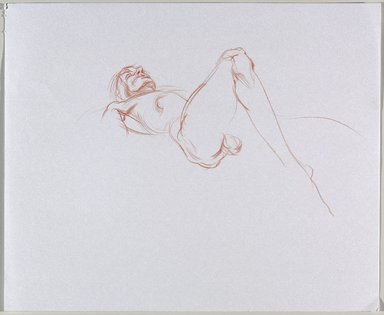 Jeremy Deller (British, born 1966). <em>Untitled (Lying Pose) from Iggy Pop Life Class by Jeremy Deller</em>, 2016. Orange colored pencil on paper, 14 × 17 in. (35.6 × 43.2 cm). Brooklyn Museum, Brooklyn Museum Collection, 2016.3.14b. © artist or artist's estate (Photo: Brooklyn Museum, 2016.3.14b_PS9.jpg)