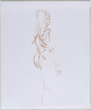 Jeremy Deller (British, born 1966). <em>Untitled (Standing Pose) from Iggy Pop Life Class by Jeremy Deller</em>, 2016. Orange colored pencil on paper, 17 x 14 in. (43.2 x 35.6 cm). Brooklyn Museum, Brooklyn Museum Collection, 2016.3.14c. © artist or artist's estate (Photo: Brooklyn Museum, 2016.3.14c_PS9.jpg)