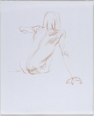 Jeremy Deller (British, born 1966). <em>Untitled (Sitting Pose) from Iggy Pop Life Class by Jeremy Deller</em>, 2016. Orange colored pencil on paper, 17 x 14 in. (43.2 x 35.6 cm). Brooklyn Museum, Brooklyn Museum Collection, 2016.3.14d. © artist or artist's estate (Photo: Brooklyn Museum, 2016.3.14d_PS9.jpg)