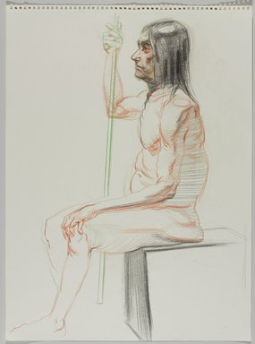 Jeremy Deller (British, born 1966). <em>Untitled (Seated Pose) from Iggy Pop Life Class by Jeremy Deller</em>, 2016. Colored pencils and charcoal on paper, 24 1/2 x 18 in. (62.2 x 45.7 cm). Brooklyn Museum, Brooklyn Museum Collection, 2016.3.14f. © artist or artist's estate (Photo: Brooklyn Museum, 2016.3.14f_PS9.jpg)