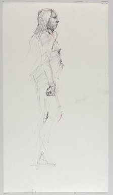 Jeremy Deller (British, born 1966). <em>Untitled (Standing Pose) from Iggy Pop Life Class by Jeremy Deller</em>, 2016. Black and red ballpoint pens on paper, 18 x 10 in. (45.7 x 25.4 cm). Brooklyn Museum, Brooklyn Museum Collection, 2016.3.15a. © artist or artist's estate (Photo: Brooklyn Museum, 2016.3.15a_PS9.jpg)