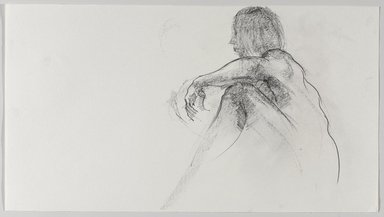 Jeremy Deller (British, born 1966). <em>Untitled (Sitting Pose) from Iggy Pop Life Class by Jeremy Deller</em>, 2016. Graphite pencil on paper, 10 x 18 in. (25.4 x 45.7 cm). Brooklyn Museum, Brooklyn Museum Collection, 2016.3.15d. © artist or artist's estate (Photo: Brooklyn Museum, 2016.3.15d_PS9.jpg)
