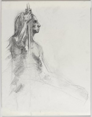 Jeremy Deller (British, born 1966). <em>Untitled (Seated Pose) from Iggy Pop Life Class by Jeremy Deller</em>, 2016. Graphite pencil on paper, 18 1/16 x 14 1/8 in. (45.9 x 35.9 cm). Brooklyn Museum, Brooklyn Museum Collection, 2016.3.15e. © artist or artist's estate (Photo: Brooklyn Museum, 2016.3.15e_PS9.jpg)