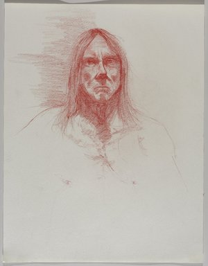 Jeremy Deller (British, born 1966). <em>Untitled (Seated Pose, Detail of Face) from Iggy Pop Life Class by Jeremy Deller</em>, 2016. Red colored pencil on paper, 18 1/8 x 14 in. (46 x 35.6 cm). Brooklyn Museum, Brooklyn Museum Collection, 2016.3.15f. © artist or artist's estate (Photo: Brooklyn Museum, 2016.3.15f_PS9.jpg)