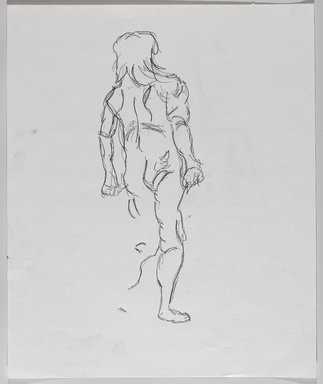 Jeremy Deller (British, born 1966). <em>Untitled (Standing Pose) from Iggy Pop Life Class by Jeremy Deller</em>, 2016. Graphite pencil on paper, 17 x 14 in. (43.2 x 35.6 cm). Brooklyn Museum, Brooklyn Museum Collection, 2016.3.16a. © artist or artist's estate (Photo: Brooklyn Museum, 2016.3.16a_PS9.jpg)
