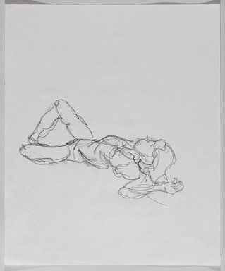Jeremy Deller (British, born 1966). <em>Untitled (Lying Pose) from Iggy Pop Life Class by Jeremy Deller</em>, 2016. Graphite pencil on paper, 17 x 14 in. (43.2 x 35.6 cm). Brooklyn Museum, Brooklyn Museum Collection, 2016.3.16b. © artist or artist's estate (Photo: Brooklyn Museum, 2016.3.16b_PS9.jpg)