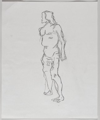 Jeremy Deller (British, born 1966). <em>Untitled (Standing Pose) from Iggy Pop Life Class by Jeremy Deller</em>, 2016. Graphite pencil on paper, 17 x 14 in. (43.2 x 35.6 cm). Brooklyn Museum, Brooklyn Museum Collection, 2016.3.16c. © artist or artist's estate (Photo: Brooklyn Museum, 2016.3.16c_PS9.jpg)