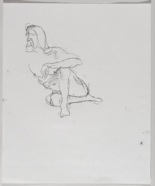 Jeremy Deller (British, born 1966). <em>Untitled (Sitting Pose) from Iggy Pop Life Class by Jeremy Deller</em>, 2016. Graphite pencil on paper, 17 x 14 in. (43.2 x 35.6 cm). Brooklyn Museum, Brooklyn Museum Collection, 2016.3.16d. © artist or artist's estate (Photo: Brooklyn Museum, 2016.3.16d_PS9.jpg)
