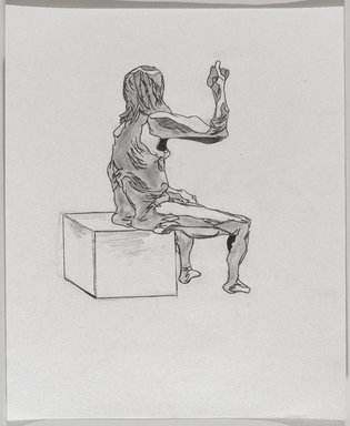 Jeremy Deller (British, born 1966). <em>Untitled (Seated Pose) from Iggy Pop Life Class by Jeremy Deller</em>, 2016. Graphite pencil with erasing on paper, 17 x 14 in. (43.2 x 35.6 cm). Brooklyn Museum, Brooklyn Museum Collection, 2016.3.16e. © artist or artist's estate (Photo: Brooklyn Museum, 2016.3.16e_PS9.jpg)