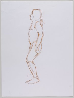 Jeremy Deller (British, born 1966). <em>Untitled (Standing Pose) from Iggy Pop Life Class by Jeremy Deller</em>, 2016. Red Conté crayon on paper, 24 x 18 in. (61 x 45.7 cm). Brooklyn Museum, Brooklyn Museum Collection, 2016.3.17a. © artist or artist's estate (Photo: Brooklyn Museum, 2016.3.17a_PS9.jpg)