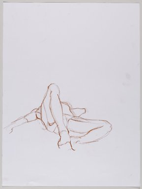 Jeremy Deller (British, born 1966). <em>Untitled (Lying Pose) from Iggy Pop Life Class by Jeremy Deller</em>, 2016. Red Conté crayon on paper, 24 x 18 in. (61 x 45.7 cm). Brooklyn Museum, Brooklyn Museum Collection, 2016.3.17b. © artist or artist's estate (Photo: Brooklyn Museum, 2016.3.17b_PS9.jpg)