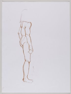 Jeremy Deller (British, born 1966). <em>Untitled (Standing Pose) from Iggy Pop Life Class by Jeremy Deller</em>, 2016. Red Conté crayon on paper, 24 x 18 in. (61 x 45.7 cm). Brooklyn Museum, Brooklyn Museum Collection, 2016.3.17c. © artist or artist's estate (Photo: Brooklyn Museum, 2016.3.17c_PS9.jpg)