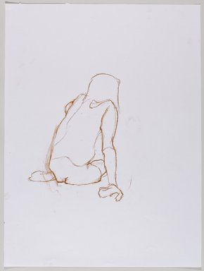 Jeremy Deller (British, born 1966). <em>Untitled (Sitting Pose) from Iggy Pop Life Class by Jeremy Deller</em>, 2016. Red Conté crayon on paper, 24 x 18 in. (61 x 45.7 cm). Brooklyn Museum, Brooklyn Museum Collection, 2016.3.17d. © artist or artist's estate (Photo: Brooklyn Museum, 2016.3.17d_PS9.jpg)