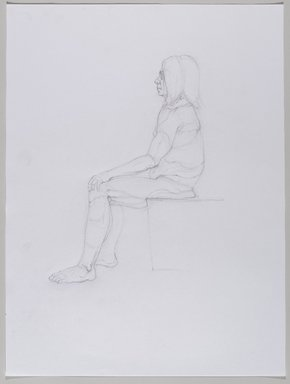 Jeremy Deller (British, born 1966). <em>Untitled (Seated Pose) from Iggy Pop Life Class by Jeremy Deller</em>, 2016. Graphite pencil with erasing on paper, 24 x 17 7/8 in. (61 x 45.4 cm). Brooklyn Museum, Brooklyn Museum Collection, 2016.3.17e. © artist or artist's estate (Photo: Brooklyn Museum, 2016.3.17e_PS9.jpg)