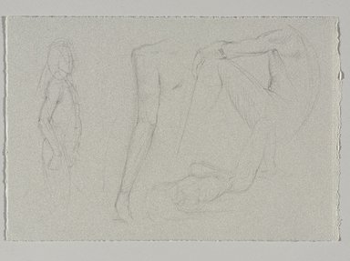 Jeremy Deller (British, born 1966). <em>Untitled (Four Poses: Standing, View from Right; Standing, Detail of Arm; Sitting; and Lying) from Iggy Pop Life Class by Jeremy Deller</em>, 2016. Graphite pencil on light gray paper, 7 5/8 x 11 1/4 in. (19.4 x 28.6 cm). Brooklyn Museum, Brooklyn Museum Collection, 2016.3.18a. © artist or artist's estate (Photo: Brooklyn Museum, 2016.3.18a_PS9.jpg)