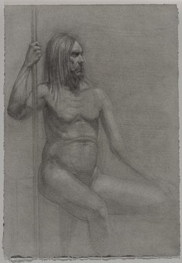Jeremy Deller (British, born 1966). <em>Untitled (Seated Pose) from Iggy Pop Life Class by Jeremy Deller</em>, 2016. Graphite pencil with erasing on paper toned with graphite, 15 1/16 x 10 1/2 in. (38.3 x 26.7 cm). Brooklyn Museum, Brooklyn Museum Collection, 2016.3.18b. © artist or artist's estate (Photo: Brooklyn Museum, 2016.3.18b_PS9.jpg)