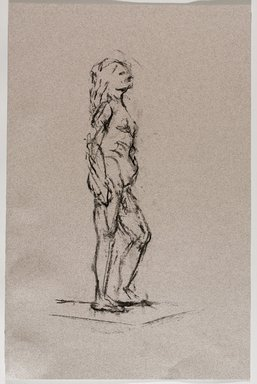 Jeremy Deller (British, born 1966). <em>Untitled (Standing Pose) from Iggy Pop Life Class by Jeremy Deller</em>, 2016. Natural charcoal on pink paper, 19 1/2 x 12 7/8 in. (49.5 x 32.7 cm). Brooklyn Museum, Brooklyn Museum Collection, 2016.3.19a. © artist or artist's estate (Photo: Brooklyn Museum, 2016.3.19a_PS9.jpg)