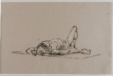 Jeremy Deller (British, born 1966). <em>Untitled (Lying Pose) from Iggy Pop Life Class by Jeremy Deller</em>, 2016. Natural charcoal with white chalk on  pink paper, 12 3/4 x 19 5/8 in. (32.4 x 49.8 cm). Brooklyn Museum, Brooklyn Museum Collection, 2016.3.19b. © artist or artist's estate (Photo: Brooklyn Museum, 2016.3.19b_PS9.jpg)