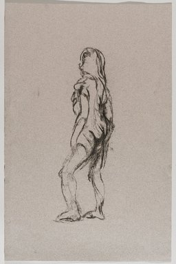 Jeremy Deller (British, born 1966). <em>Untitled (Standing Pose) from Iggy Pop Life Class by Jeremy Deller</em>, 2016. Natural charcoal on pink paper, 19 1/2 x 12 7/8 in. (49.5 x 32.7 cm). Brooklyn Museum, Brooklyn Museum Collection, 2016.3.19c. © artist or artist's estate (Photo: Brooklyn Museum, 2016.3.19c_PS9.jpg)