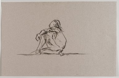 Jeremy Deller (British, born 1966). <em>Untitled (Sitting Pose) from Iggy Pop Life Class by Jeremy Deller</em>, 2016. Natural charcoal on pink paper, 12 3/4 x 19 5/8 in. (32.4 x 49.8 cm). Brooklyn Museum, Brooklyn Museum Collection, 2016.3.19d. © artist or artist's estate (Photo: Brooklyn Museum, 2016.3.19d_PS9.jpg)