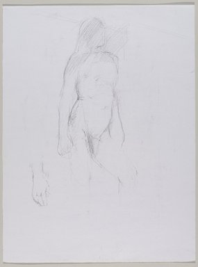 Jeremy Deller (British, born 1966). <em>Untitled (Standing Pose with Detail of Hand) from Iggy Pop Life Class by Jeremy Deller</em>, 2016. Graphite pencil on paper, 24 x 18 in. (61 x 45.7 cm). Brooklyn Museum, Brooklyn Museum Collection, 2016.3.1a. © artist or artist's estate (Photo: Brooklyn Museum, 2016.3.1a_PS9.jpg)