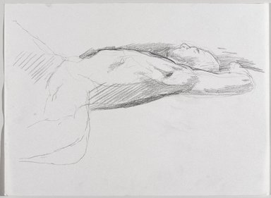 Jeremy Deller (British, born 1966). <em>Untitled (Lying Pose) from Iggy Pop Life Class by Jeremy Deller</em>, 2016. Graphite pencil on paper, 10 1/4 x 14 in. (26 x 35.6 cm). Brooklyn Museum, Brooklyn Museum Collection, 2016.3.1b. © artist or artist's estate (Photo: Brooklyn Museum, 2016.3.1b_PS9.jpg)