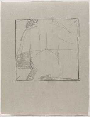 Jeremy Deller (British, born 1966). <em>Untitled (Standing Pose, Back View) from Iggy Pop Life Class by Jeremy Deller</em>, 2016. Graphite pencil on beige paper, 12 3/4 x 10 in. (32.4 x 25.4 cm). Brooklyn Museum, Brooklyn Museum Collection, 2016.3.1e. © artist or artist's estate (Photo: Brooklyn Museum, 2016.3.1e_PS9.jpg)