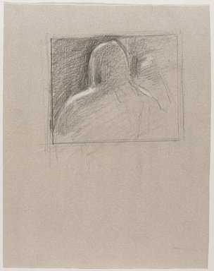 Jeremy Deller (British, born 1966). <em>Untitled (Seated Pose, Back View) from Iggy Pop Life Class by Jeremy Deller</em>, 2016. Black pencil with white pastel pencil on beige paper, 12 3/4 x 10 in. (32.4 x 25.4 cm). Brooklyn Museum, Brooklyn Museum Collection, 2016.3.1f. © artist or artist's estate (Photo: Brooklyn Museum, 2016.3.1f_PS9.jpg)