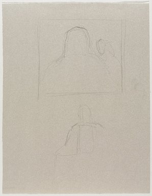 Jeremy Deller (British, born 1966). <em>Untitled (Seated Pose, Back View) from Iggy Pop Life Class by Jeremy Deller</em>, 2016. Graphite pencil on beige paper, 12 3/4 x 10 in. (32.4 x 25.4 cm). Brooklyn Museum, Brooklyn Museum Collection, 2016.3.1g. © artist or artist's estate (Photo: Brooklyn Museum, 2016.3.1g_PS9.jpg)