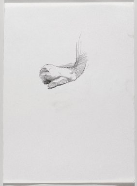 Jeremy Deller (British, born 1966). <em>Untitled (Sitting Pose, Detail of Hand) from Iggy Pop Life Class by Jeremy Deller</em>, 2016. Graphite pencil on paper, 14 x 10 1/4 in. (35.6 x 26 cm). Brooklyn Museum, Brooklyn Museum Collection, 2016.3.1h. © artist or artist's estate (Photo: Brooklyn Museum, 2016.3.1h_PS9.jpg)
