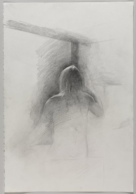Jeremy Deller (British, born 1966). <em>Untitled (Seated Pose, Back View) from Iggy Pop Life Class by Jeremy Deller</em>, 2016. Graphite pencil on paper, 22 x 15 in. (55.9 x 38.1 cm). Brooklyn Museum, Brooklyn Museum Collection, 2016.3.1i. © artist or artist's estate (Photo: Brooklyn Museum, 2016.3.1i_PS9.jpg)