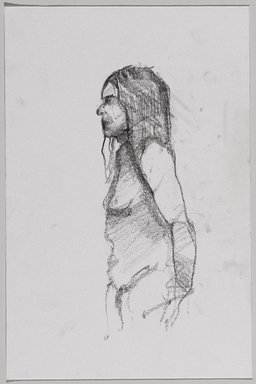 Jeremy Deller (British, born 1966). <em>Untitled (Standing Pose) from Iggy Pop Life Class by Jeremy Deller</em>, 2016. Graphite pencil on paper, 12 1/8 x 8 in. (30.8 x 20.3 cm). Brooklyn Museum, Brooklyn Museum Collection, 2016.3.20a. © artist or artist's estate (Photo: Brooklyn Museum, 2016.3.20a_PS9.jpg)