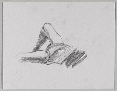 Jeremy Deller (British, born 1966). <em>Untitled (Lying Pose) from Iggy Pop Life Class by Jeremy Deller</em>, 2016. Graphite pencil on paper, 7 1/4 x 9 in. (18.4 x 22.9 cm). Brooklyn Museum, Brooklyn Museum Collection, 2016.3.20b. © artist or artist's estate (Photo: Brooklyn Museum, 2016.3.20b_PS9.jpg)