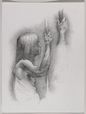 Jeremy Deller (British, born 1966). <em>Untitled (Seated Pose with Detail of Hand) from Iggy Pop Life Class by Jeremy Deller</em>, 2016. Graphite pencil on paper, 12 x 9 in. (30.5 x 22.9 cm). Brooklyn Museum, Brooklyn Museum Collection, 2016.3.20d. © artist or artist's estate (Photo: Brooklyn Museum, 2016.3.20d_PS9.jpg)