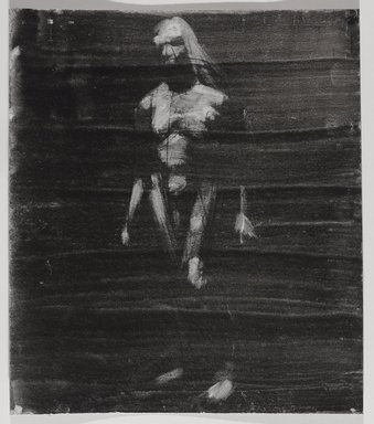 Jeremy Deller (British, born 1966). <em>Untitled (Standing Pose) from Iggy Pop Life Class by Jeremy Deller</em>, 2016. Black ink, brushed and blotted, with black pencil on board, 14 1/8 x 12 1/4 in. (35.9 x 31.1 cm). Brooklyn Museum, Brooklyn Museum Collection, 2016.3.21a. © artist or artist's estate (Photo: Brooklyn Museum, 2016.3.21a_PS9.jpg)