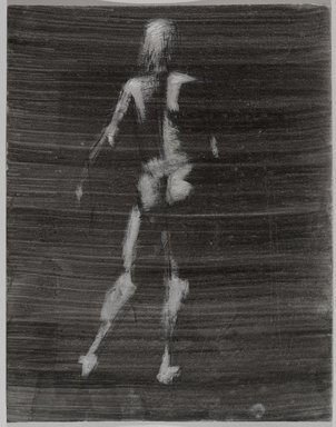 Jeremy Deller (British, born 1966). <em>Untitled (Standing Pose) from Iggy Pop Life Class by Jeremy Deller</em>, 2016. Black ink, brushed and blotted, with scratching out, with black pencil on board, 16 1/8 x 12 3/4 in. (41 x 32.4 cm). Brooklyn Museum, Brooklyn Museum Collection, 2016.3.21c. © artist or artist's estate (Photo: Brooklyn Museum, 2016.3.21c_PS9.jpg)