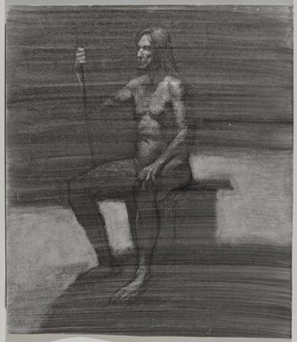 Jeremy Deller (British, born 1966). <em>Untitled (Seated Pose) from Iggy Pop Life Class by Jeremy Deller</em>, 2016. Black ink, brushed and blotted, with scratching out, with black pencil on board, 21 7/8 × 18 7/8 in. (55.6 × 47.9 cm). Brooklyn Museum, Brooklyn Museum Collection, 2016.3.21d. © artist or artist's estate (Photo: Brooklyn Museum, 2016.3.21d_PS9.jpg)