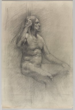 Jeremy Deller (British, born 1966). <em>Untitled (Seated Pose) from Iggy Pop Life Class by Jeremy Deller</em>, 2016. Graphite pencil and powdered graphite on paper, 18 x 12 in. (45.7 x 30.5 cm). Brooklyn Museum, Brooklyn Museum Collection, 2016.3.22c. © artist or artist's estate (Photo: Brooklyn Museum, 2016.3.22c_PS9.jpg)