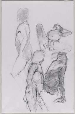 Jeremy Deller (British, born 1966). <em>Untitled (Four Poses: Standing, View from Left; Lying; Standing, View from Right; and Sitting) from Iggy Pop Life Class by Jeremy Deller</em>, 2016. Compressed charcoal over graphite pencil on paper, 17 x 11 in. (43.2 x 27.9 cm). Brooklyn Museum, Brooklyn Museum Collection, 2016.3.2a. © artist or artist's estate (Photo: Brooklyn Museum, 2016.3.2a_PS9.jpg)