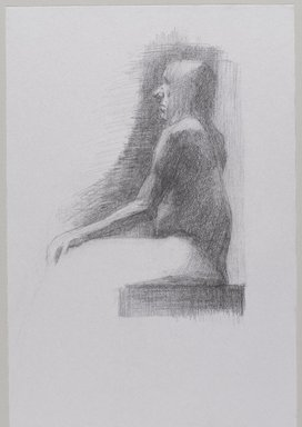 Jeremy Deller (British, born 1966). <em>Untitled (Seated Pose) from Iggy Pop Life Class by Jeremy Deller</em>, 2016. Graphite pencil on paper, 17 x 11 in. (43.2 x 27.9 cm). Brooklyn Museum, Brooklyn Museum Collection, 2016.3.2b. © artist or artist's estate (Photo: Brooklyn Museum, 2016.3.2b_PS9.jpg)