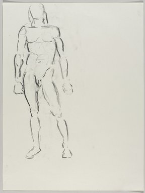 Jeremy Deller (British, born 1966). <em>Untitled (Standing Pose) from Iggy Pop Life Class by Jeremy Deller</em>, 2016. Natural charcoal on paper, 24 x 18 in. (61 x 45.7 cm). Brooklyn Museum, Brooklyn Museum Collection, 2016.3.3a. © artist or artist's estate (Photo: Brooklyn Museum, 2016.3.3a_PS9.jpg)
