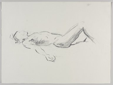 Jeremy Deller (British, born 1966). <em>Untitled (Lying Pose) from Iggy Pop Life Class by Jeremy Deller</em>, 2016. Natural charcoal on paper, 18 x 24 in. (45.7 x 61 cm). Brooklyn Museum, Brooklyn Museum Collection, 2016.3.3b. © artist or artist's estate (Photo: Brooklyn Museum, 2016.3.3b_PS9.jpg)