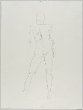 Jeremy Deller (British, born 1966). <em>Untitled (Standing Pose) from Iggy Pop Life Class by Jeremy Deller</em>, 2016. Natural charcoal on paper, 24 x 18 in. (61 x 45.7 cm). Brooklyn Museum, Brooklyn Museum Collection, 2016.3.3c. © artist or artist's estate (Photo: Brooklyn Museum, 2016.3.3c_PS9.jpg)