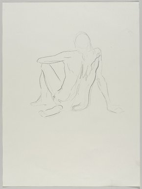 Jeremy Deller (British, born 1966). <em>Untitled (Sitting Pose) from Iggy Pop Life Class by Jeremy Deller</em>, 2016. Natural charcoal on paper, 24 x 18 in. (61 x 45.7 cm). Brooklyn Museum, Brooklyn Museum Collection, 2016.3.3d. © artist or artist's estate (Photo: Brooklyn Museum, 2016.3.3d_PS9.jpg)